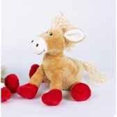 peluche poney beige pattes rouges ho1333