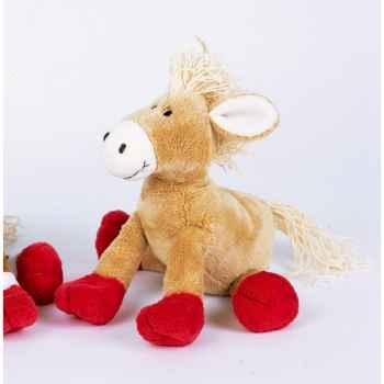 Peluche Poney beige pattes rouges -ho1333