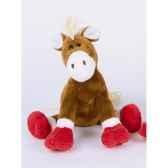 peluche poney marron pattes rouges ho1301
