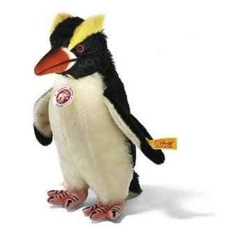 Peluche Steiff Pingouin Hippie mohair debout blanc et noir -st064531