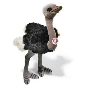 Peluche Steiff Autruche Piccy mohair debout noir et grise -st068706