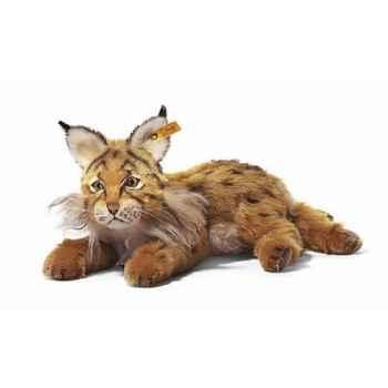 Peluche Steiff Lynx Mini mohair couché brun et roux -st069611