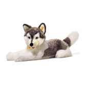 peluche steiff husky bernie couche gris et blanc 104961