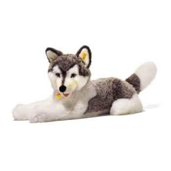 Peluche Steiff Husky Bernie couché gris et blanc-104961