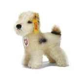 peluche steiff chien terrier mohair debout blanc tachete st031397