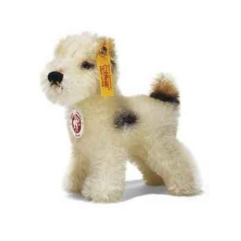 Peluche Steiff Chien Terrier mohair debout blanc tacheté -st031397
