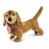 peluche steiff chien bazi teckemohair debout brun clair st035081