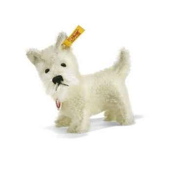 Peluche Steiff Chien Terrier West Highland mohair, debout blanc -st035906