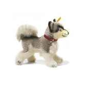 peluche steiff mini husky whitey mohair debout gris et blanc st079689