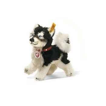 Peluche Steiff Mini-husky Whitey mohair debout noir et blanc -st079696