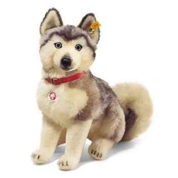 Peluche Steiff Ernesto chien de traîneau mohair assis gris et blanc -st079702