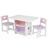 ensemble table et chaises avec motif coeur et bas kidkraft 26913