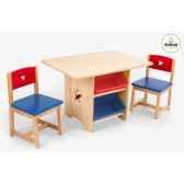 ensemble table et chaises avec motif etoile et bacs couleurs primaires kidkraft 26912
