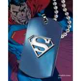 dog tag embleme superman bleu noble collection nnxt8339
