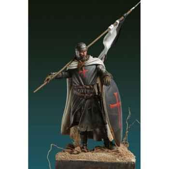 Figurine - Kit à peindre Templier avec Drapeau, XIIe siècle - SM-F52