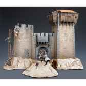 figurine kit a peindre ensemble le siege du chateau medievaxii siecle sm s06