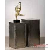 colonne sculpture mdf bois argent casablanca design 51447