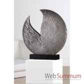 sculpture parrot bois antique argente casablanca design 51507