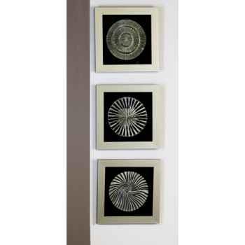 "Peinture \""slice\"" bois verre argent noir Casablanca Design -51950"