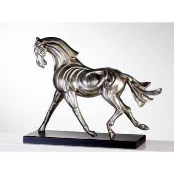 "Sculpture \""firehorse\"" antique argent Casablanca Design -51954"