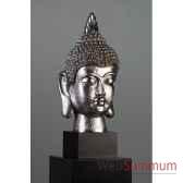 figurine budda head poly antique argent casablanca design 59228