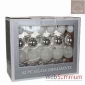 s42 boule l39l17h32 verre blanc argent transparent transparent glitter 165958