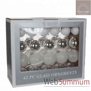S42 boule l39l17h32 verre blanc argent transparent transparent glitter -165958