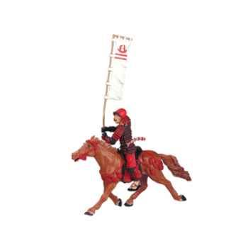 Figurine le cheval fauve harnachement rouge -65708