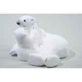 ours polaire mousse avec enfant avec neige kaemingk 455600
