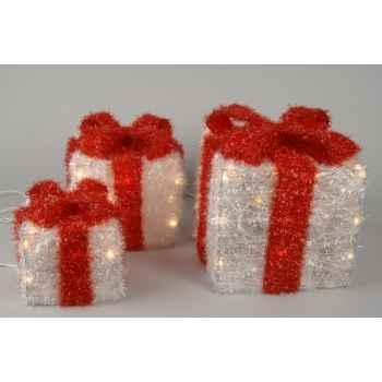 boite cadeau blanche noeud rouge kaemingk 480894. Black Bedroom Furniture Sets. Home Design Ideas