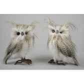 chouette en peluche regarde gauche droite avec plumes kaemingk 667750