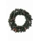 couronne sherwood givree avec pommes de pin et baies 100 branches kaemingk 683516