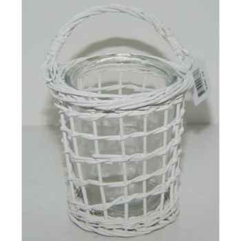 Lanterne 16cm gris brindilles a verre Peha -TR-25247