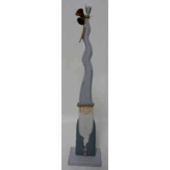 Pere noel en bois 35cm bleu Peha -TR-35965