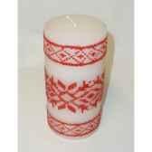 bougie motif flocons 15cm blanc rouge peha c10105
