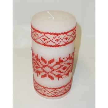 Bougie motif flocons 15cm blanc/rouge Peha -CL-10105