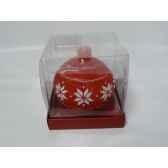 bougie boule motif flocon 9cm rouge blan peha c10140