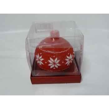 Bougie boule motif flocon 9cm rouge/blan Peha -CL-10140