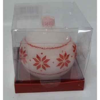 Bougie boule motif flocon 9cm blanc/roug Peha -CL-10145
