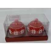 2 bougies boule flocon 6cm rouge blanc peha c10150