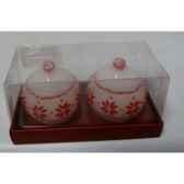 2 bougies boule flocon 6cm blanc rouge peha c10155