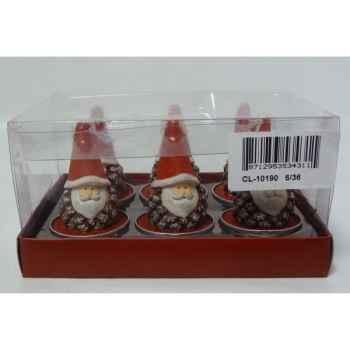 6 bougie chauffe plat pere noel rouge Peha -CL-10190