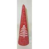 bougie 20cm motif sapin et etoile rouge peha c10275