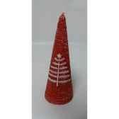 bougie 15cm motif sapin et etoile rouge peha c10280