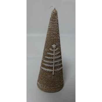 Bougie 15cm motif sapin et étoile beige Peha -CL-10295