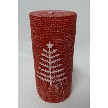 Bougie 7x15cm motif sapin rouge Peha -CL-10315