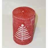 bougie 7x10cm motif sapin rouge peha c10320