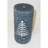 bougie 7x15cm motif sapin bleu peha c10325