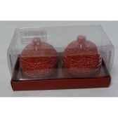 2 bougies boules motif sapin 6cm rouge peha c10350