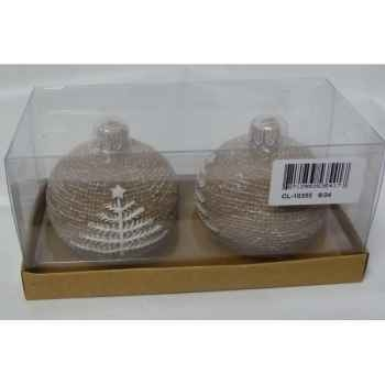 2 bougies motif sapin 7,5cm beige Peha -CL-10355